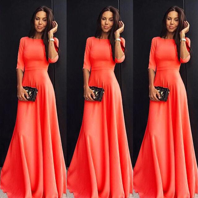 2018 Summer Sexy Elegant Women Half Sleeve Slim Empire O-neck Vestido Evening Formal Party Prom Long Maxi Dress Plus Size S-2XL 18