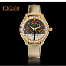 Women's Brand Quartz Watches Original Gold Leather Strap Wishing Tree Ladies Diamond Dress Wrist Watch Clock W024