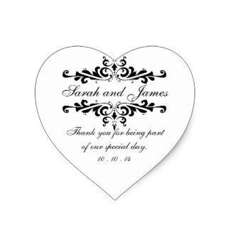 3 8cm Elegant Thank You Wedding Favor Stickers Heart