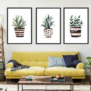 Скандинавский минималистичный стиль пятнистые полосатые вазы зеленое растение холст абстрактный постер гостиная спальня домашний настен...