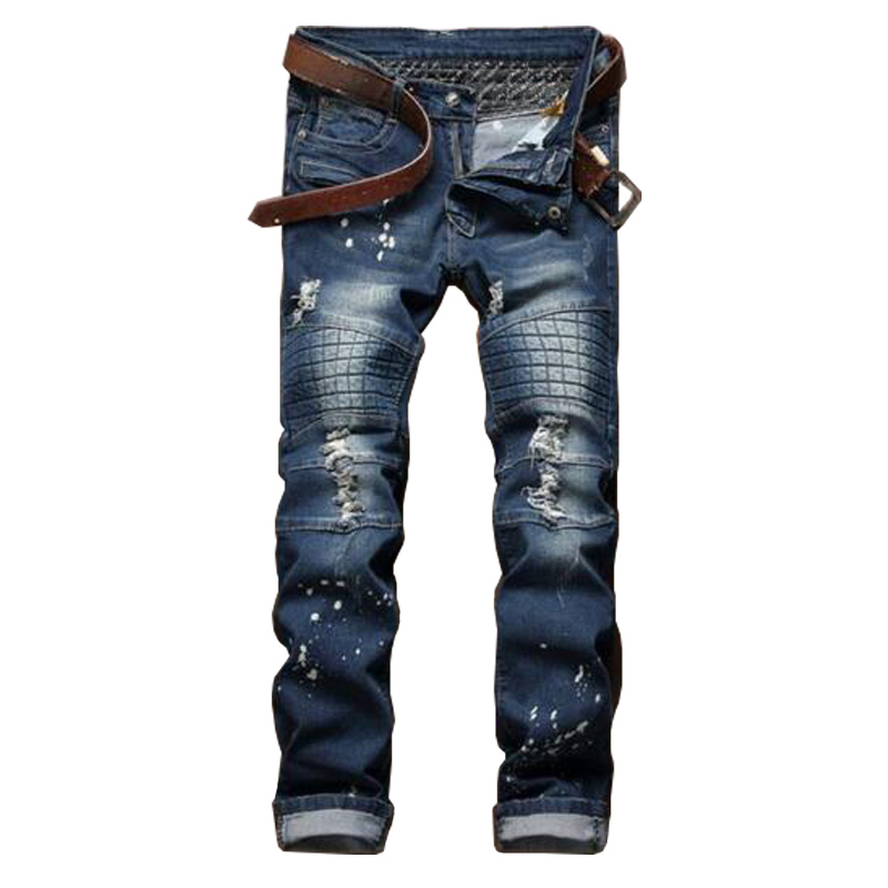 ФОТО 2016 Mens Slim Ripped Patchwork Jeans Elastic Distressed Pleated Straight Jeans P4025