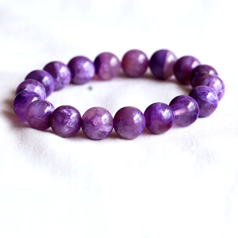 Natural Genuine Clear Purple Charoite Stretch Finish Bracelet Round beads 11mm 05096Natural Genuine Clear Purple Charoite Stretch Finish Bracelet Round beads 11mm 05096