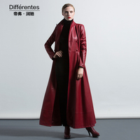 Autumn winter long coat women's fashion turn down collar long design leather clothing red elegant Pu trench outerwear female