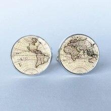 1 par abotoaduras de prata antigo mapa do mundo mapa do mundo abotoaduras de punho para homens e mulheres acessórios Vintage antigo