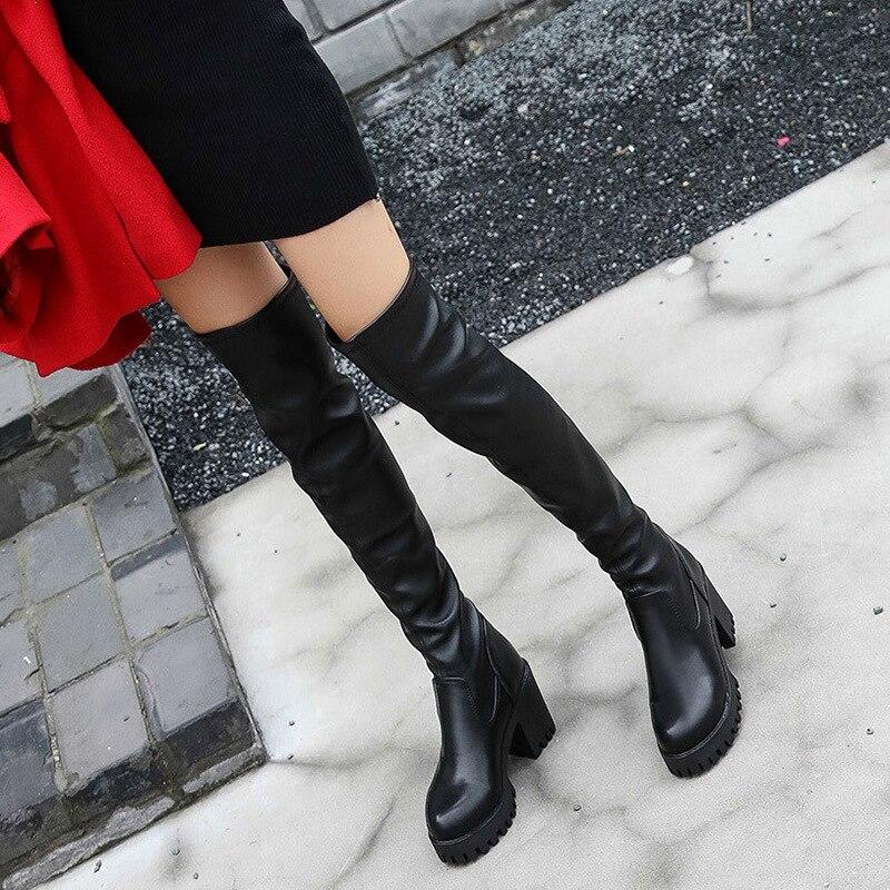 2018 Neue Heiße Frauen Stiefel Herbst Winter Damen Mode Pu Leder Stiefel Schuhe Über Das Knie Oberschenkel Hohe Wildleder Lange Stiefel