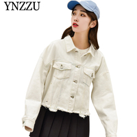 YNZZU 2019 new arrival white denim jacket Short Oversize turn down collar women jackets Causal loose female outerwear YO806