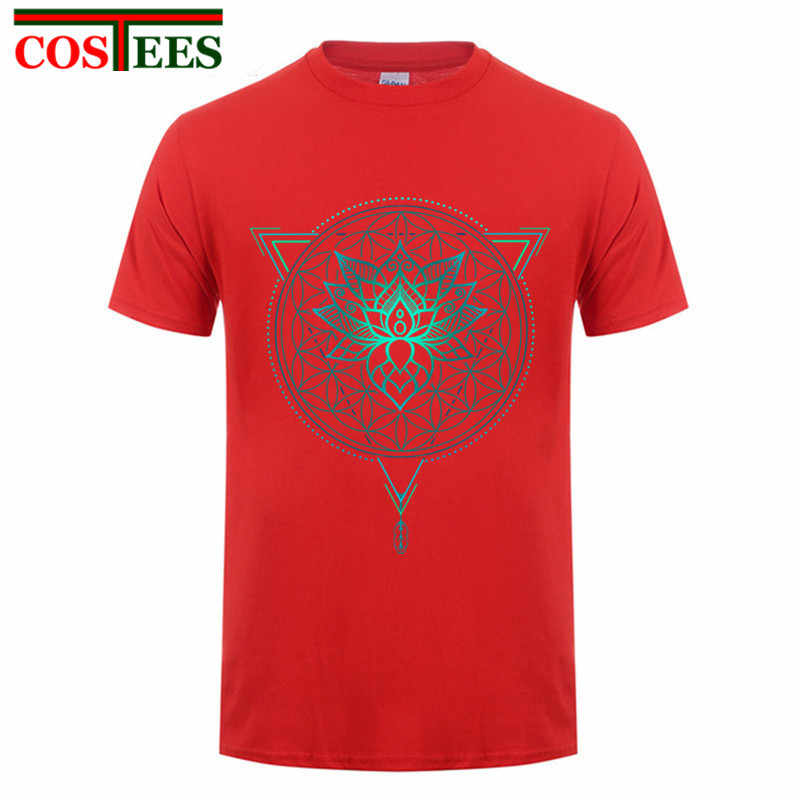 b27ac649935e ... Lotus Flower of Life Mandala in Geometric Triangle Summer T shirt Men  2017 Luxury Brand T ...
