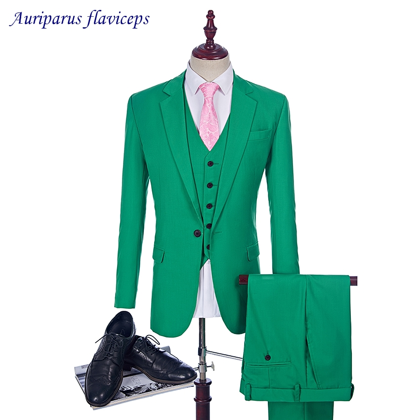 New Arrival Green 3 Suit Style For Man Clothes Peaked Lapel Groom Tuxedos And Groomsman Suit Man Suit (jacket+Vest+pants)