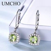 hot deal buy umcho genuine sterling silver drop earrings for women natural peridot earrings long earrings brand fine jewelry engagement gift