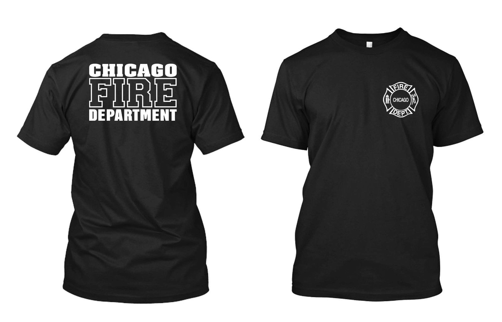 2019 Funny Chicago Fire Department - Custom Men'S Black T-Shirt Tee Double Side Unisex Tee