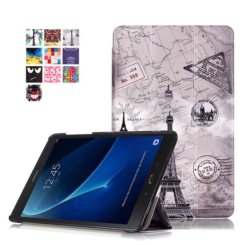 High quality PU Case For Samsung Galaxy Tab A A6 10.1 2016 T580 T585 T580N SM-T580 Cover Smart Cases Funda Tablet Flip Shell fashion painted flip pu leather for samsung galaxy tab a 10 1 sm t580 t585 t580n 10 1 inch tablet smart case cover pen film