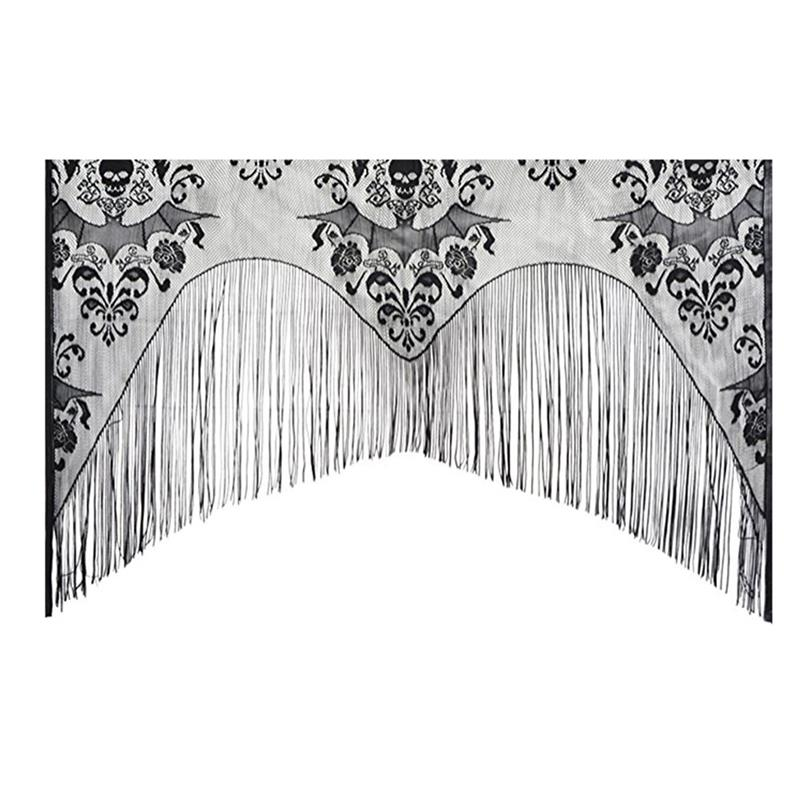 coxeer Halloween Window Curtain Polyester Lace Bat Skull Short Curtain Cover Short Curtain Valance With Tassel Free Shipping