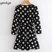 2018 Women Vintage Polka Dot Long Sleeve Summer Dress Sexy Crossover V Neck With Belt Wrap