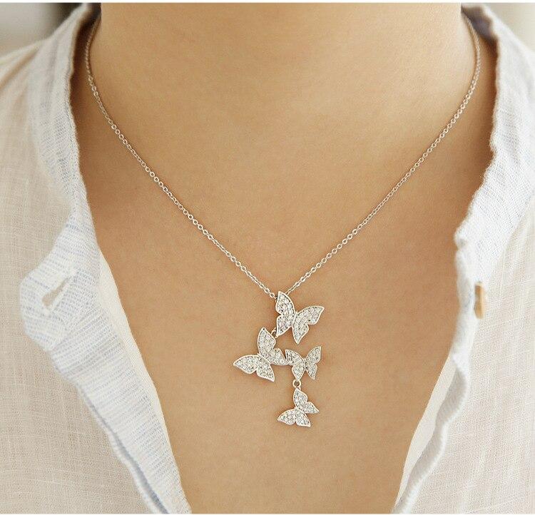 777ce92d9412 100% de plata 925 collar modelos estrella genuina grandes mariposas de plata  cadena de clavícula corea joyas de plata en Colgantes de Joyería y  accesorios ...