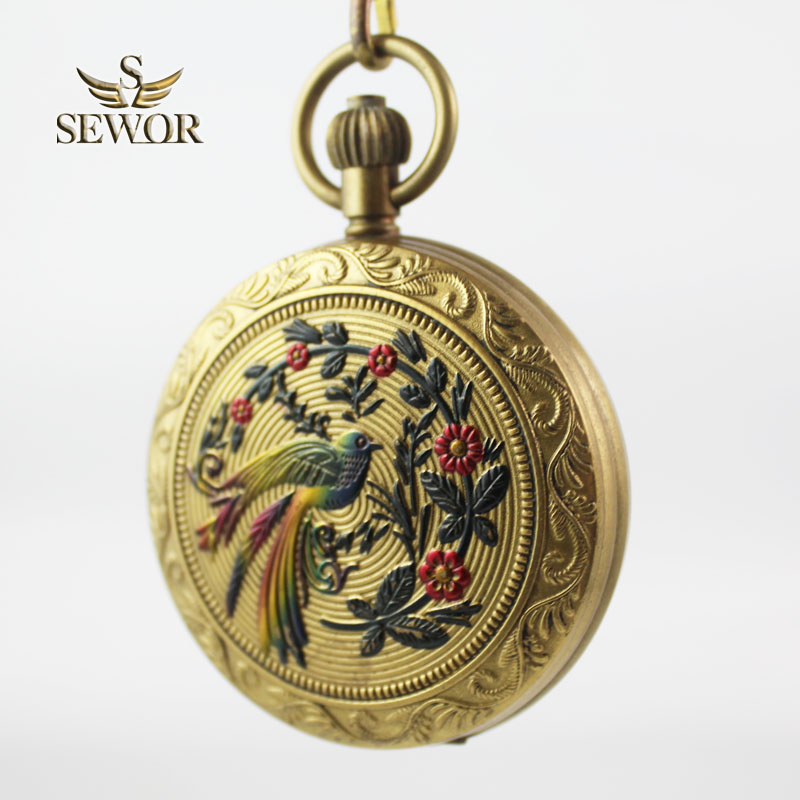 SEWOR 2018 Top Brand Classic But Fashion bronze moon phase mechanical pocket watch men watch women watchC205 coupon for wholesale buyer price good quality new bronze retro vintage classic arabic number mechanical pocket watch with chain