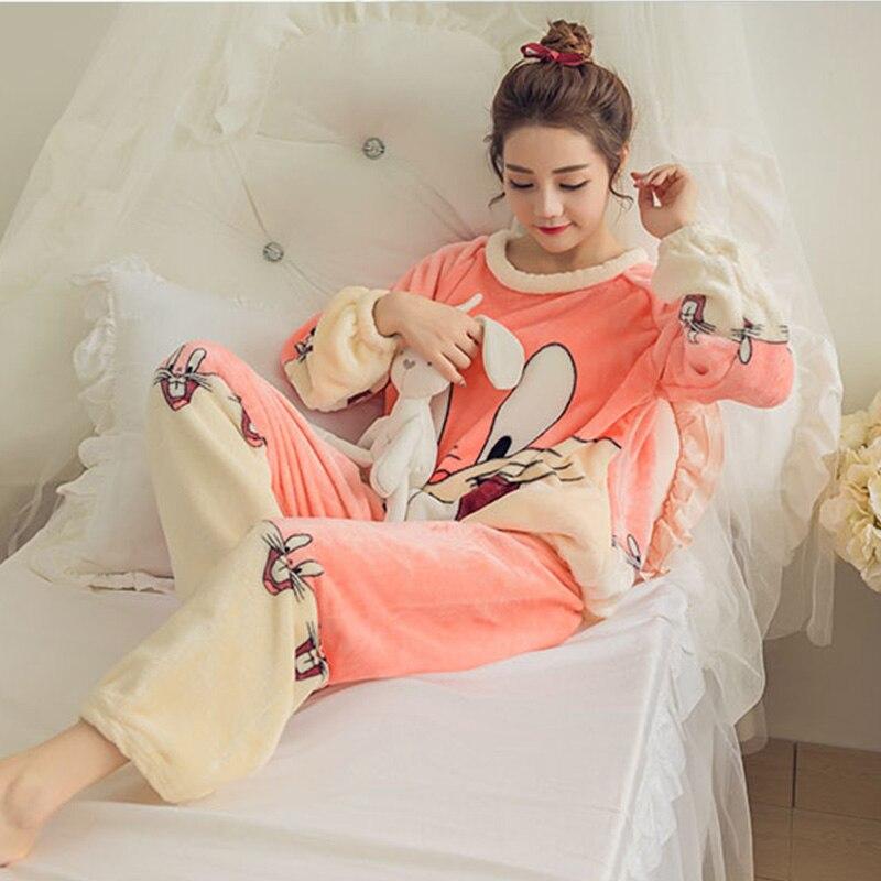 Girls Winter Cartoon Animal Homewear Pyjamas Femme Long Sleeve Autumn   Pajamas     Set   Sleepwear Coral Velvet Bear Pijamas Feminino
