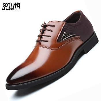 BAOLUMA Luxury Mens Dress Big Size Shoes Pu Leather Oxford Shoes For Men Lace-up Business Men Shoes Brand Men Wedding Shoes