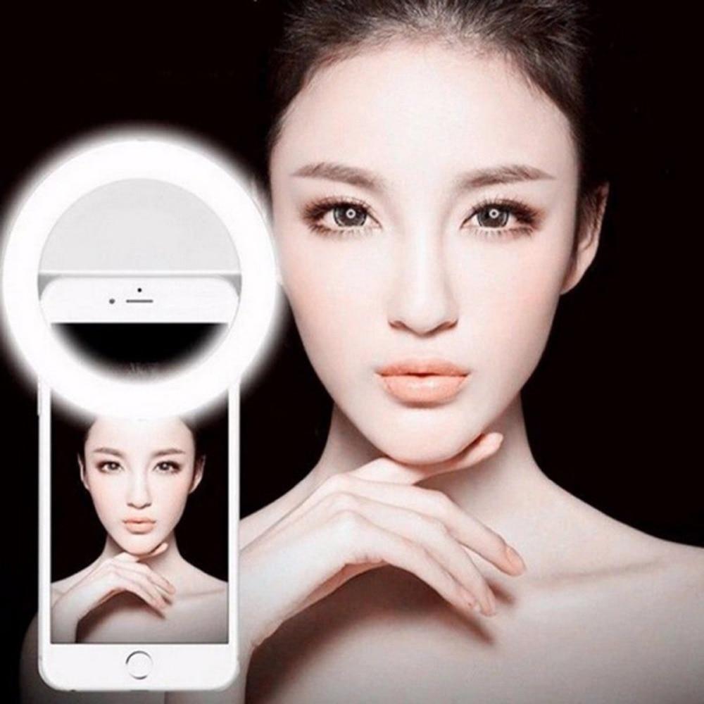 Selfie Portable Flash Led Caméra Téléphone Photographie Anneau Lumière L'amélioration Photographie pour iPhone Smartphone Rose Blanc Noir