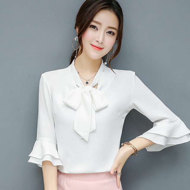 White Pink Orange Office Lady Formal Blouse Shirt Spring Autumn Plus Size  Women Top Bow Half Flare Sleeve Chiffon Blouse 3XL 4XL 7d1d1f8e656b