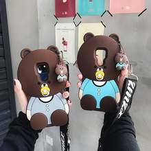 3d cartoon bear shoulder strap silicone case for huawei mate 20 10 pro lite P20 honor 8X 9 cover cute soft shel