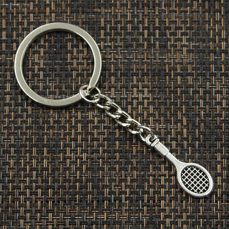 LLavero de Metal de 30mm de moda, llavero, joyería, raqueta de tenis chapada en plata antigua, colgante de 29x10mm