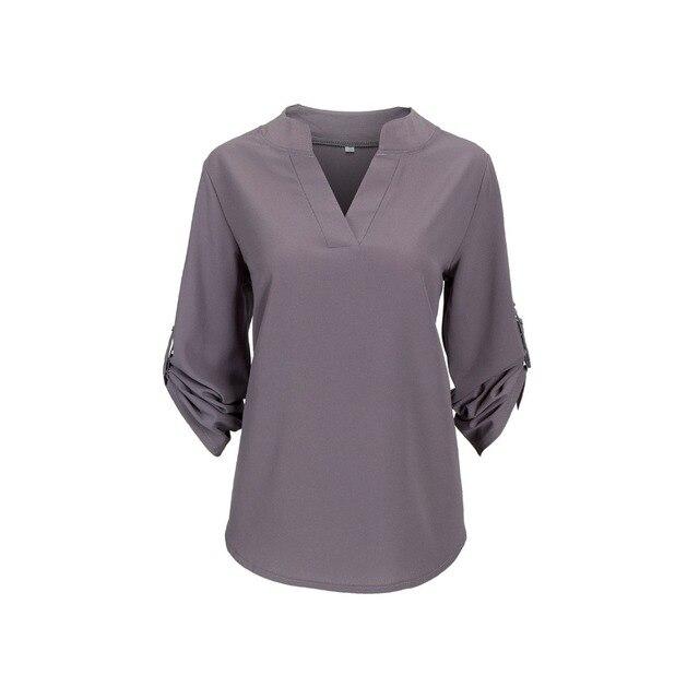 Big Yard Tops Women V-neck Chiffon Blouses 3/4 Sleeve Female ShirtS New Fashion Large Size Feminina Camisas Blusas Ladies Tops 3