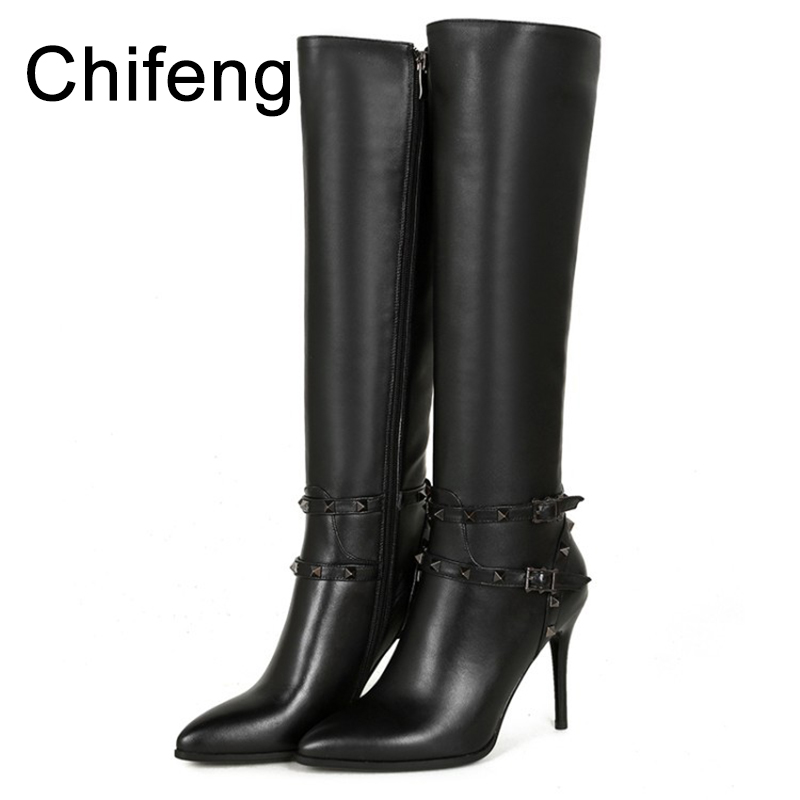 women boots over the knee womens shoes winter 2017 woman high heel genuine leather boot winter boots women over the knee boots genuine leather boots thigh high boots female 2017 heel fashion black shoes woman