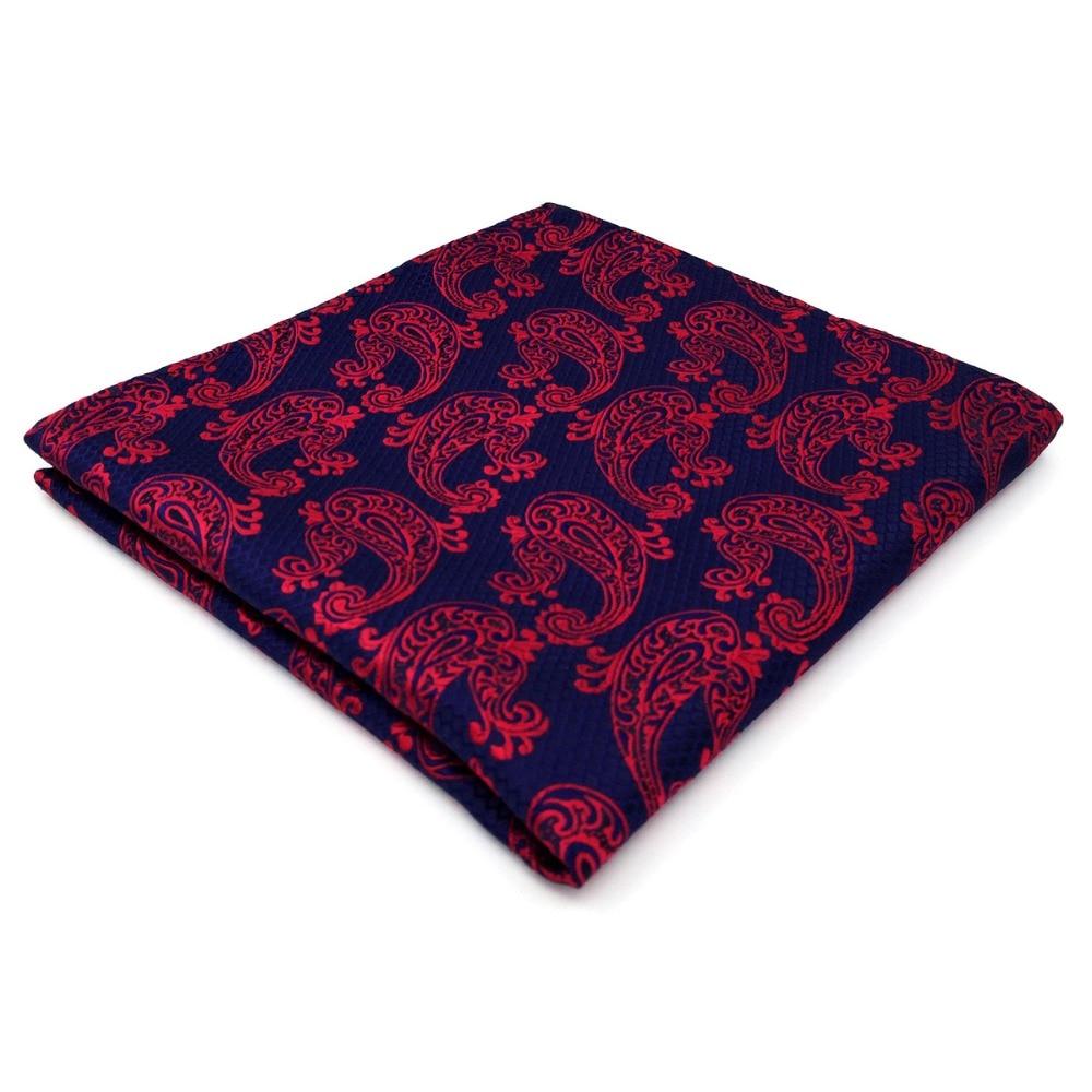 Paisley Blue Burgundy Red Pocket Square Mens Silk Hanky Handkerchief