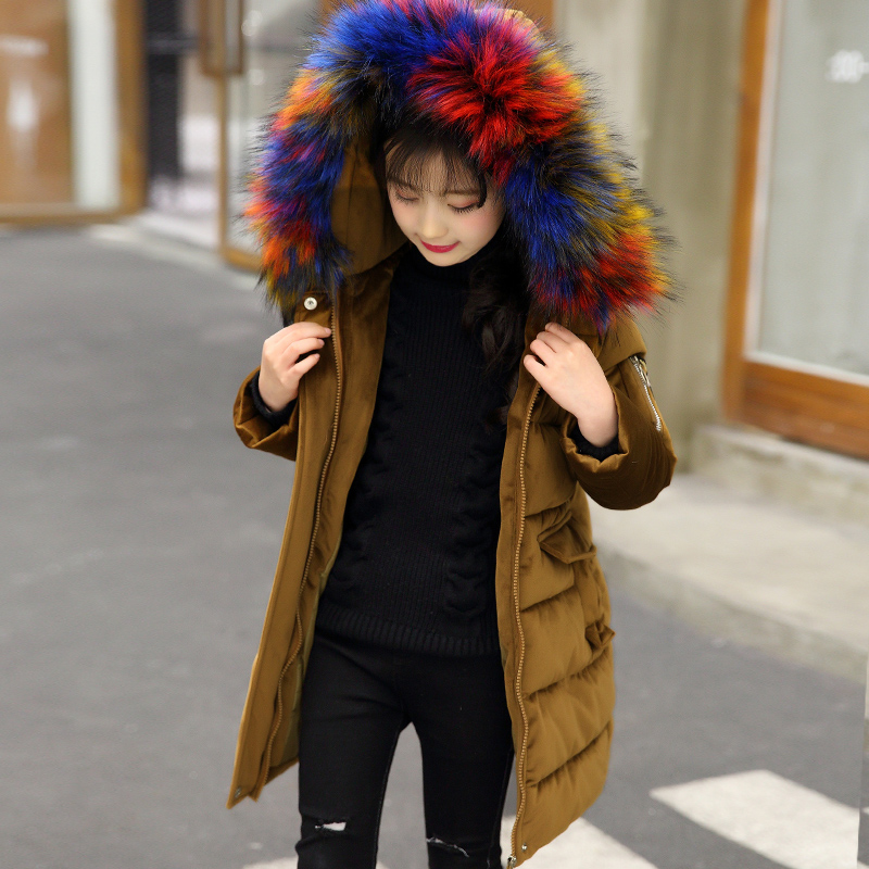 -30 degrees Girls Cotton-padded Outerwear & Coats 2018 Winter Children Warm Clothes fashion multicolour Fur Collar Jacket 3-16 Y-30 degrees Girls Cotton-padded Outerwear & Coats 2018 Winter Children Warm Clothes fashion multicolour Fur Collar Jacket 3-16 Y