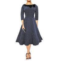 Plus la taille d'été rétro et veaux grands dress femme 2017 vague point arc cravate O col sept manches dress grand dress Vestidos G27