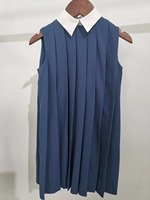 Instock Summer Girl Party Dress Blue Draped Princess Dress White Turn dwon Collar for Girl clothing Boutique Dresss