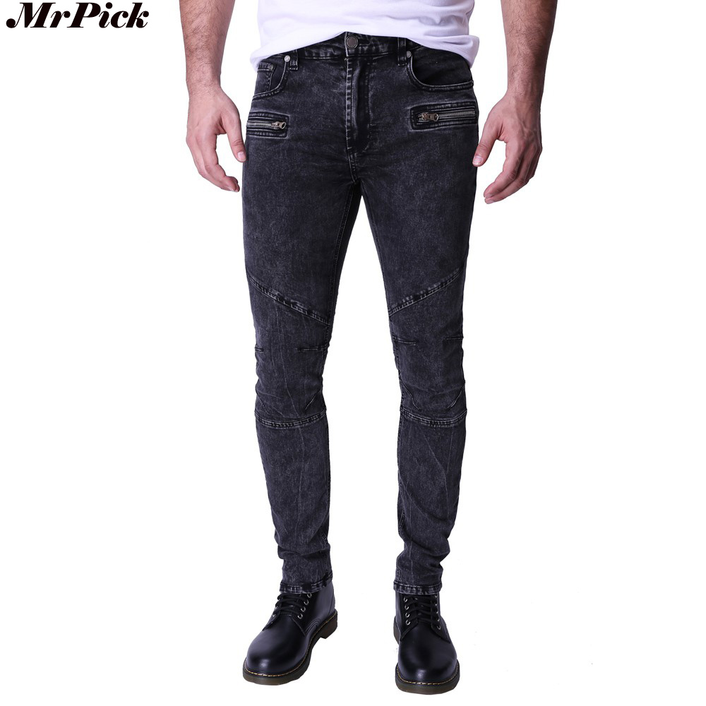 2017 Design Men <font><b>Jeans</b></font> Moto Biker Slim Fit <font><b>Jeans</b></font> For Men Zippers Style <font><b>Snow</b></font> <font><b>Jeans</b></font> Y2033