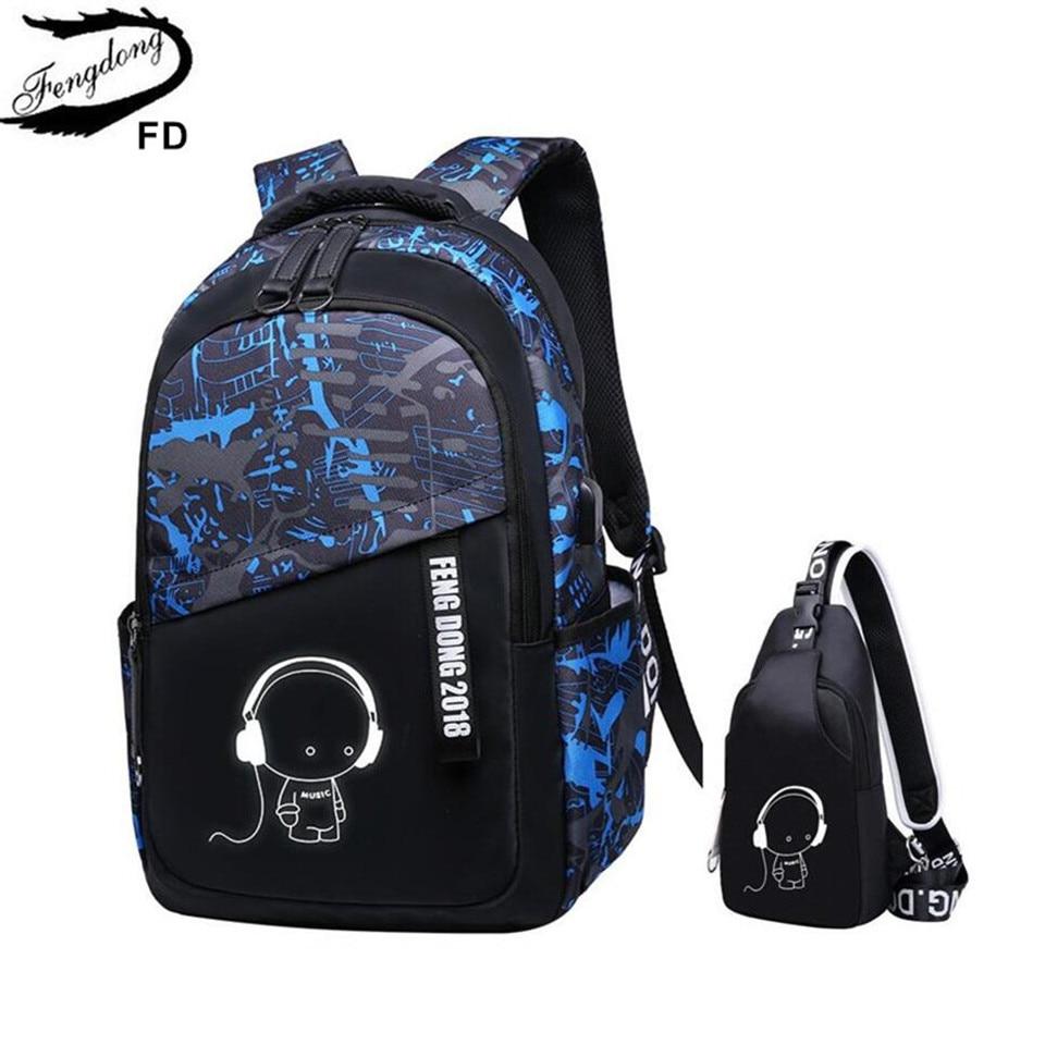 FengDong Children School Bags For Boys Sling Chest Bag Waterproof School Backpack For Girls Schoolbag Backpack Kids Shoulder Bag