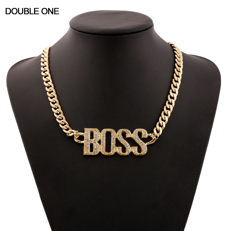 Hiphop BOSS Letter Crystal Necklaces Rhinestones Pendants & Chain Necklace Fashion Jewelry Silver Gold for Party Gift