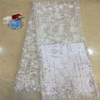 2019 African French Lace Fabric High Quality Nigerian Embroidery Tulle Lace Fabric With Beads And Sequins For Wedding  xc65-1434