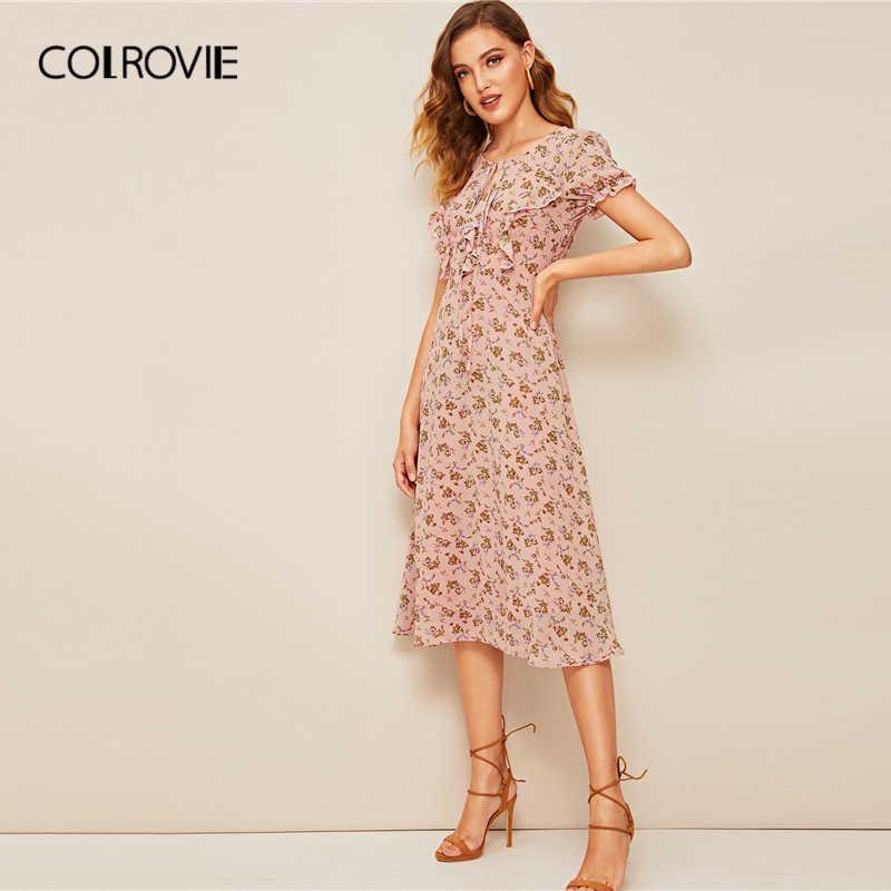 COLROVIE, розовое, с цветочным принтом, с завязками на шее, с рюшами, бохо, длинное платье для женщин, лето 2019, пышные рукава, облегающие и расклешенные винтажные платья