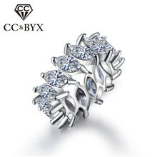 Shine CZ Woman Ring Punk Trendy Big Fancy Finger Rings for Women White Gold color Fashion Jewelry CC242(China)