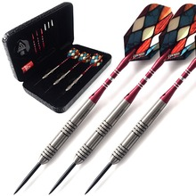 лучшая цена CUESOUL 23 Grams Tungsten Steel Tip Darts Set 90% Tungsten With Luxury Black Dart Case