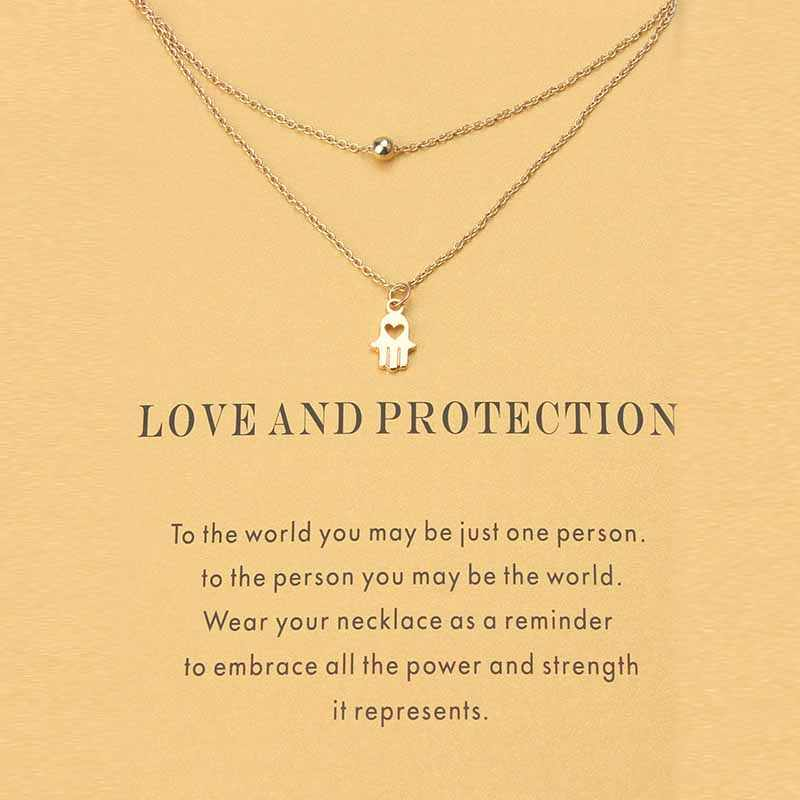 Fashion Minimalist Love Charms Links Chains Hamsa Hand Choker Collier Necklaces Pendants Women Statement Wish Card Jewelry