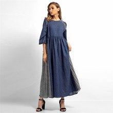 O neck Striped Denim Maxi Dress Women Autumn Style Jean Long Dress Vestidos  2018 Streetwear New 4a7f6e216a8c