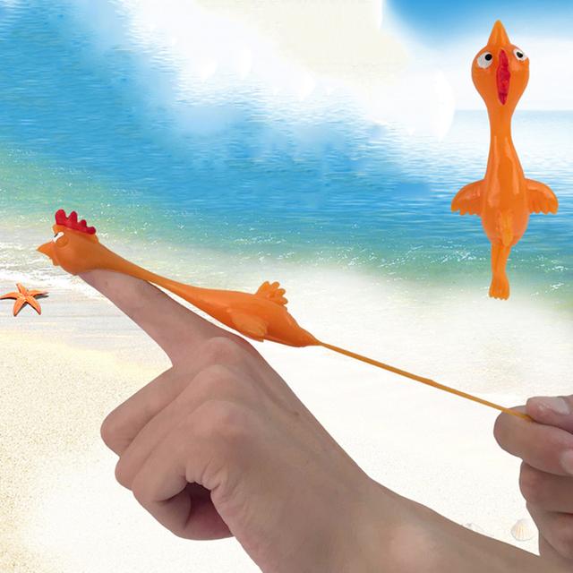 Novelty Gags Practical Joke Toys Funny Laugh Stretchy Flying Turkey Finger Birds Sticky Rubber Chicken