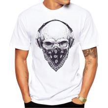 2019 Men T Shirts Fashion Skull with Headphones Design Short Sleeve Casual Tops Hipster Vintage Printed T-Shirt Cool Tee(China)