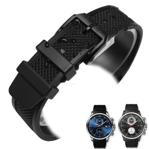 MERJUST Curved End 22mm Black Soft Silicone Rubber Watchband Strap For IWC PORTUGIESER YACHT CLUB CHRONOGRAPH IW390502 IW390209