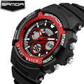 Original SANDA brand man women fashion waterproof dual time sports army wristwatches for ladiess dress gift led watches