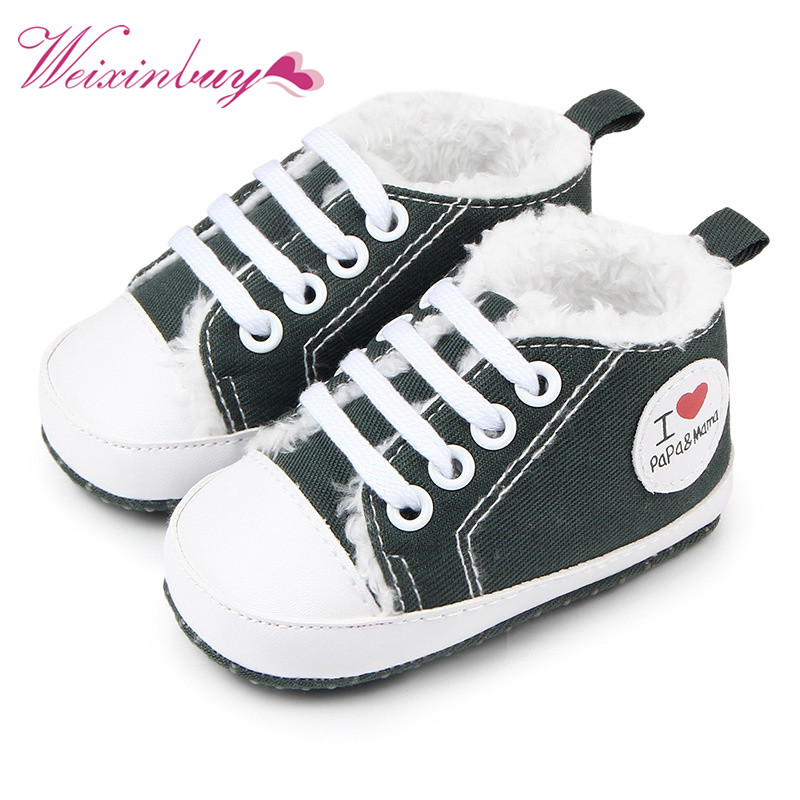 Winter Soft Bottom Love Heart Baby Shoes Lace-Up Infant Newborn Baby Boy Girl Thicker Fi ...
