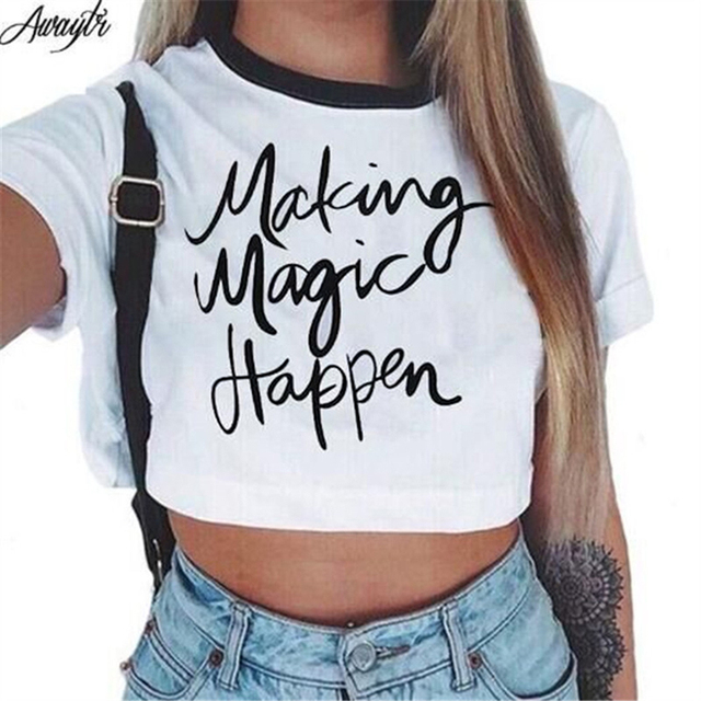 Awaytr Women's Summer Letter Printed Crop Top 2017 Short Sleeve Cotton T Shirts Brand New Casual Tees Cute Cropped Top