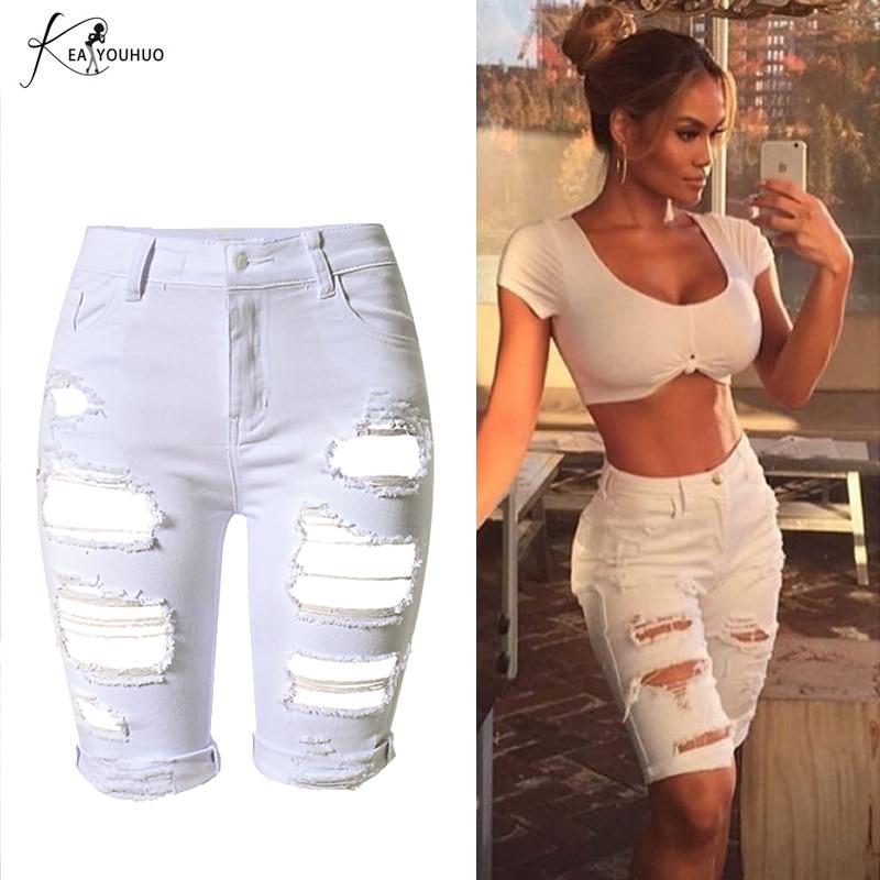 2018 FashionSkinny Vysoký pas kalhoty roztrhané džíny pro ženy Capris šortky Žena na koni Denim Pocket armáda zelené ženy džíny