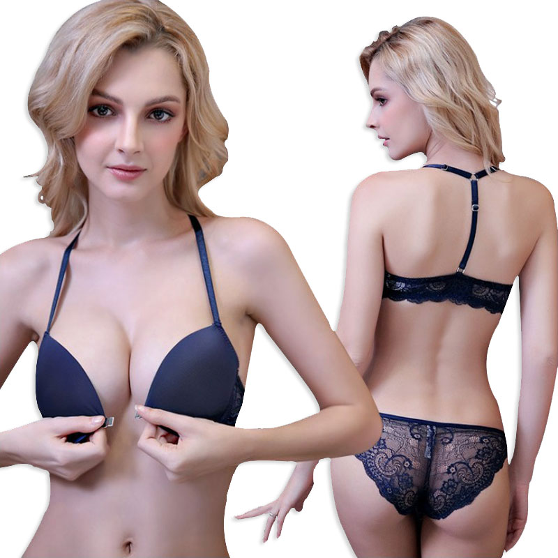 Front Closure Seamless Bra Set Sexy Lace Brassiere Push up Womens Underwear Sets Thin Cotton Comfortable Lingerie 2018 New