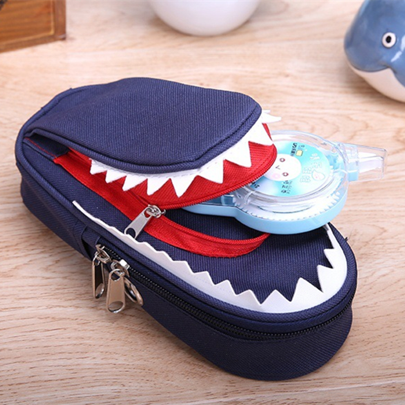 Boys and Girls Personality Stationery Creative Shark Large Capacity Canvas School Pencil Case Pencil Bags school supply no lock big capacity high quality canvas shark double layers pen pencil holder makeup case bag for school student with combination coded lock