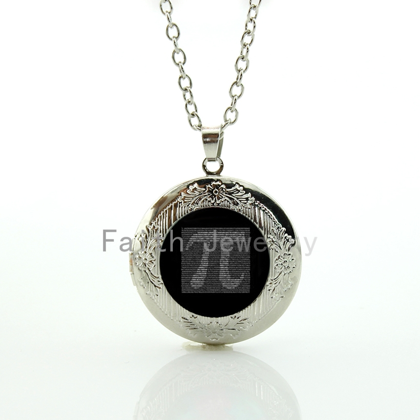 Geek boys gift retro light grey tone Pion Number pendant jewelry maths physics Pi symbol locket necklace gift idea HH235